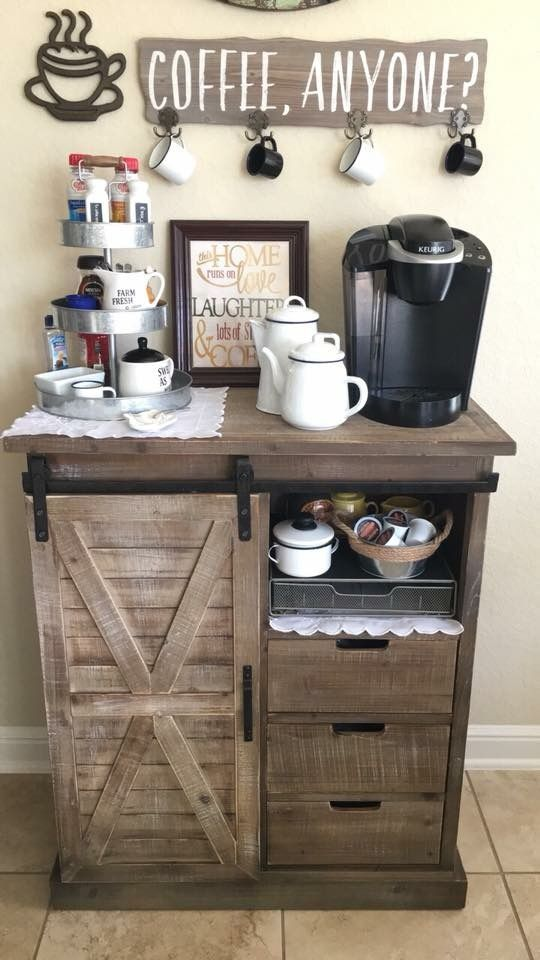 Farmhouse Style Coffee Serving Station Ideas For The Kitchen Home Coffee Bar Ideas