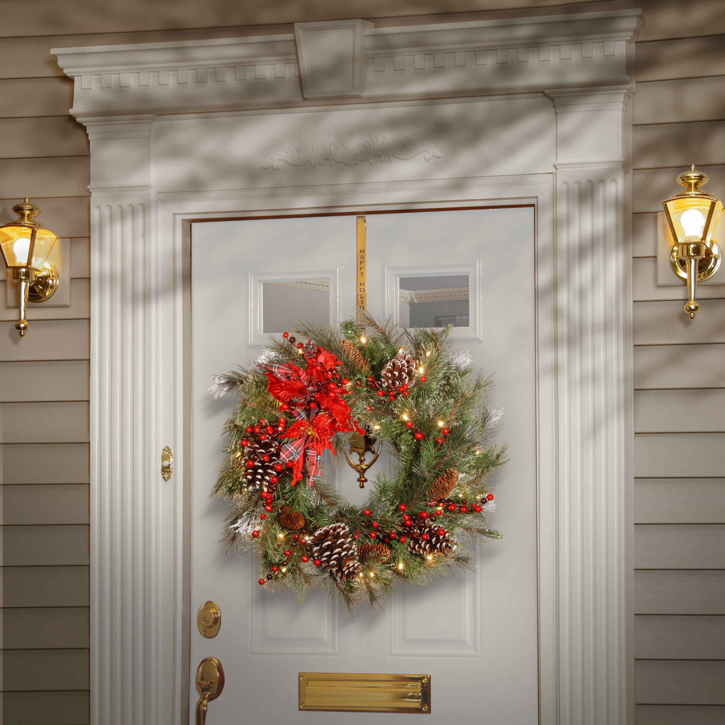 Outdoor Lighted Artificial Christmas Wreaths For The Front